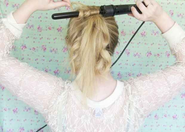 Curl your hair while it's in a high ponytail for quick, effortless waves.