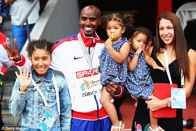 Mo Farah with his wife Tania, their twin daughters and his older daughter in 2014. They now live in Oregon but it is thought he is in Ethiopia at the moment