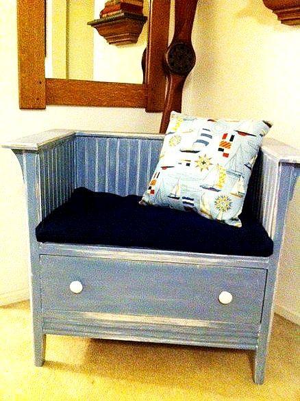 repurpose a small dresser into a chair