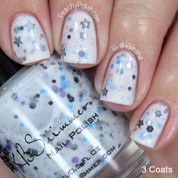 Let S Get Star Ted White Glitter Nail Polish With Black Stars 0 5 Oz Full