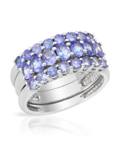 Ring With Genuine Tanzanites - Size 7 Stylish ring set with genuine tanzanites well made in 925 sterling silver. Total item weight 5.7g. 3 single rings to wear as one ring. Gemstone info: 7 tanzanites, 1.00ctw., oval shape and blue violet color, 16 tanzanites, 1.15ctw., round shape and blue violet color.