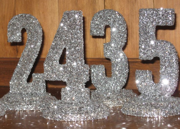 Glittered Table Numbers Wedding Decor 1 10 Black Tie Shabby Chic Bridal