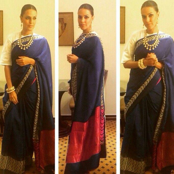 Neha Dhupia in Raw Mango and Anmol jewellers