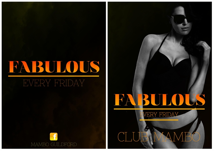 """'Fabulous' Friday Nights  @ Club Mambo Poster    Event poster front and back for """"Fabulous"""" at Mambo Guildford"""