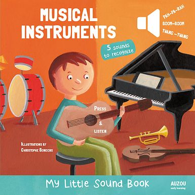 What sound does this musical instrument make? Children will have fun pressing the buttons in this noisy book and finding out! The book introduces some great first facts about five favorite musical instruments—trumpet, violin, guitar, drum set, and the piano- and there are bright, colorful photographs of each one to look at too. A great noisy early learning book!