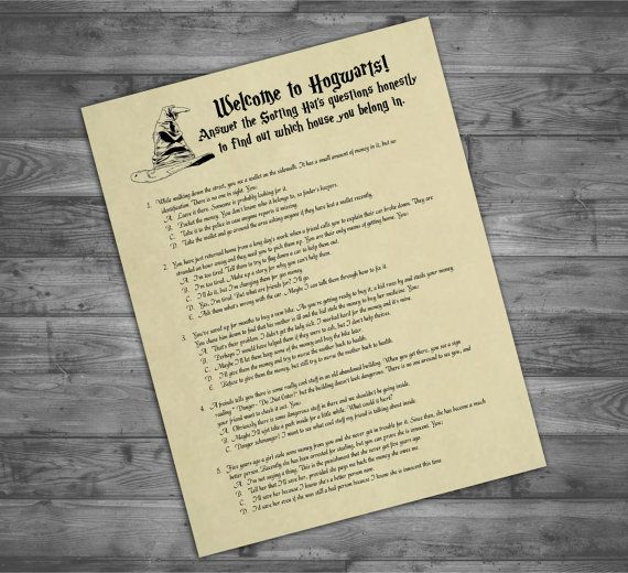 Printable Sorting Hat Quiz - Harry Potter Party Game - Digital Print Only - Hogwarts Houses