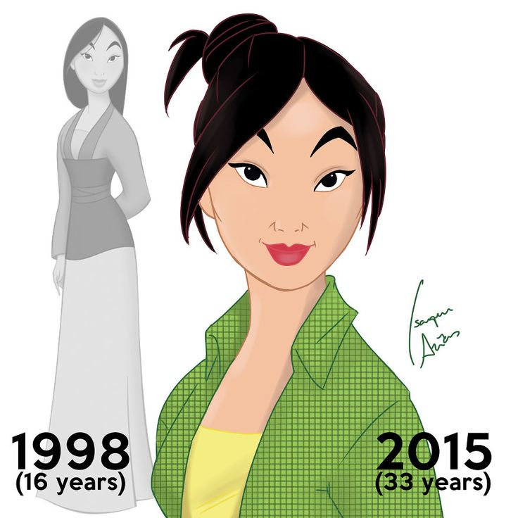 Mulan is now 33 years old. In the movie she was 16 years old. Ming-Na Wen was my inspiration.