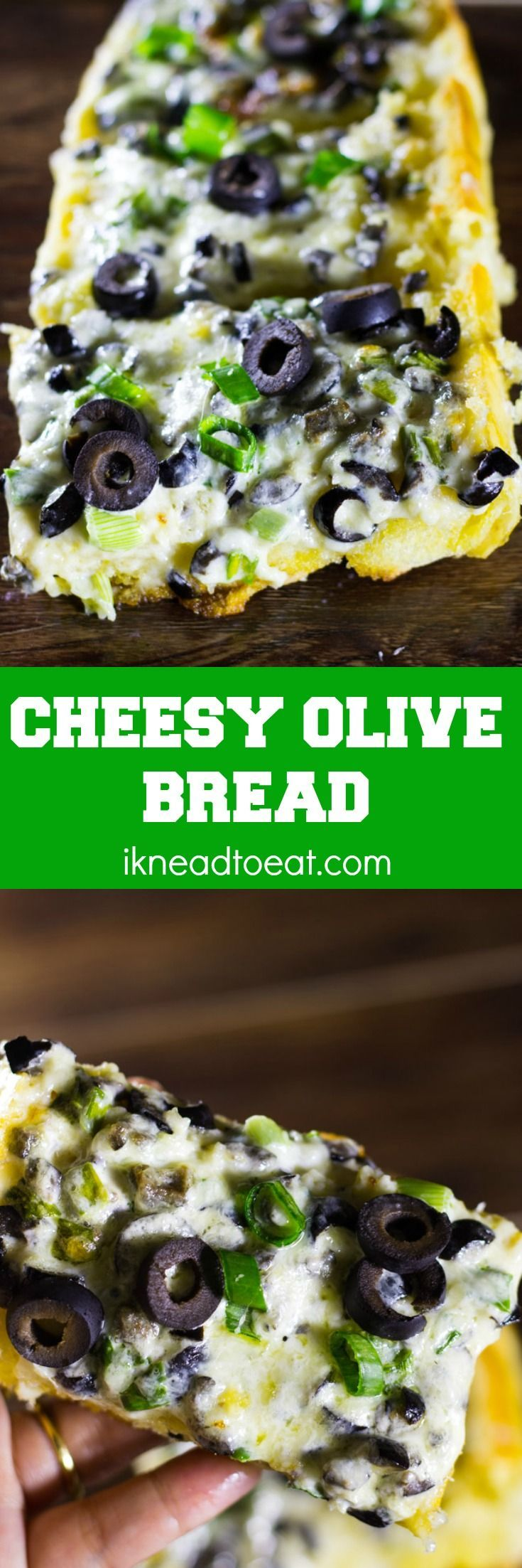 NEW! This Cheesy Olive Bread is outrageously delicious because it's made from a mouthwatering trinity of cheese, butter and mayo! Also features crusty bread...crusty bread is always good!