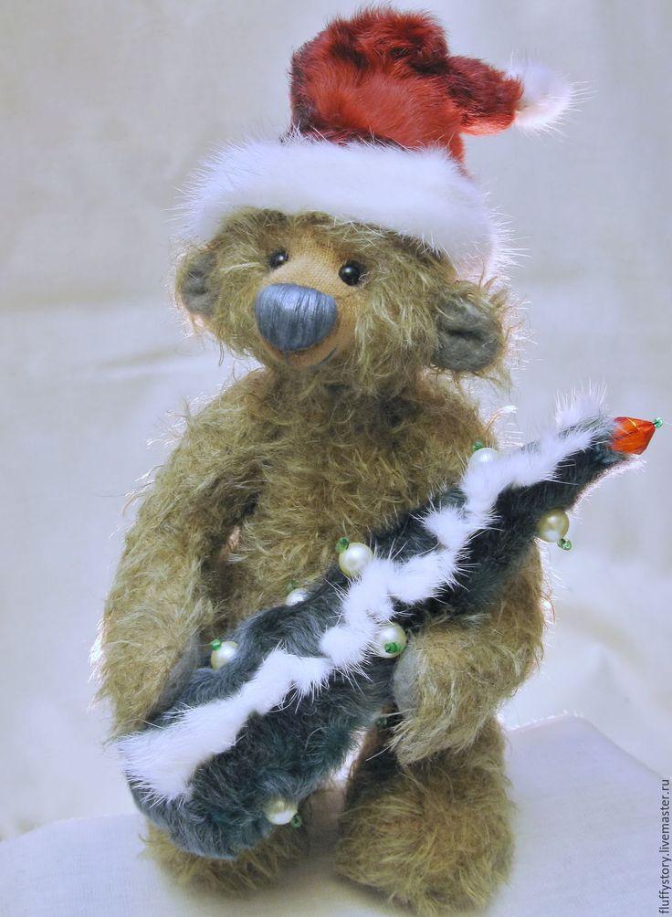 Купить Мишка тедди Санта-Клаус - бежевый, ручная работа, мишка тедди