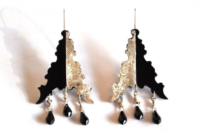 Victorian silver and black perspex earrings