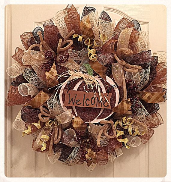 Bienvenido otoño Chocolate Deco malla otoño corona guirnalda/calabaza guirnalda/cosecha guirnalda/gracias guirnalda