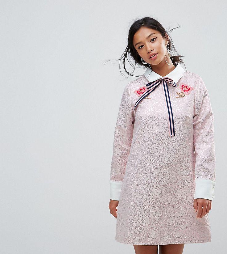 Sister Jane Petite Mini Dress With Embroidery - Purple