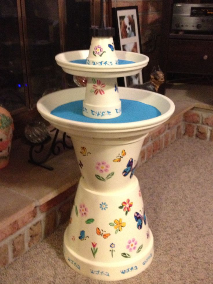 Bird bath from clay pots