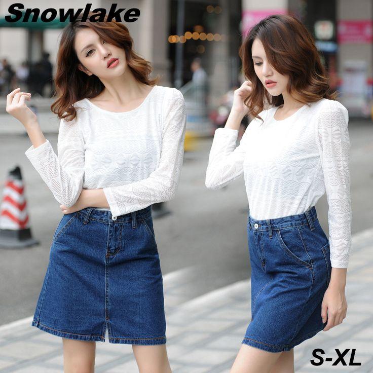 Snowlake New Spring and Summer 2017 Ladies Denim Skirt Sexy Short Jeans Skirt