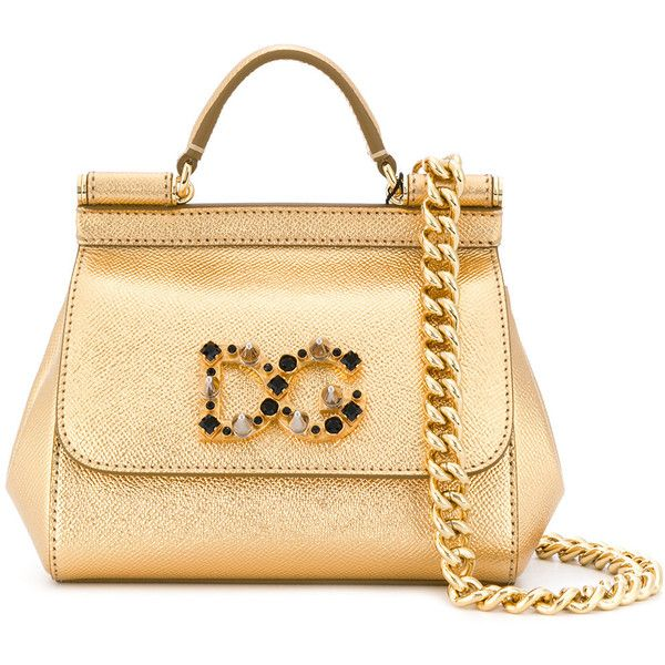 Dolce & Gabbana Mini Sicily tote bag (7.645 RON) ❤ liked on Polyvore featuring bags, handbags, tote bags, metallic, beige tote bag, mini tote, logo tote bags, beige tote and metallic tote