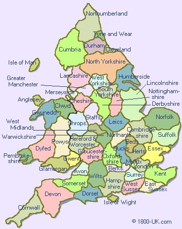 County Map of England & Wales -- © 1800-UK.com