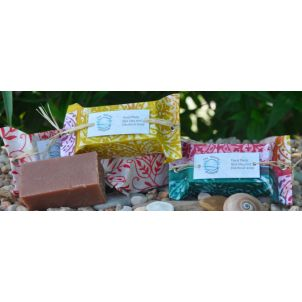 Red Clay and Patchouli Soap wrapped in Fair Trade Paper