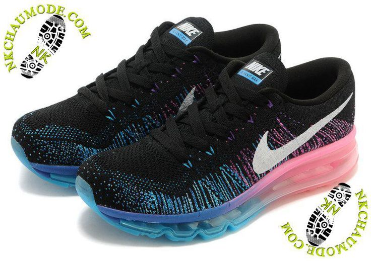 chaussure running nike pas cher Air Max 2014 Femme Noir/Rose/Bleu