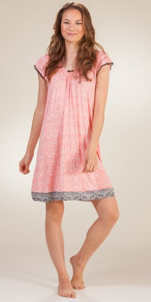 Short Gown - Ellen Tracy Flutter Sleeve Chemise in Mango Paisley