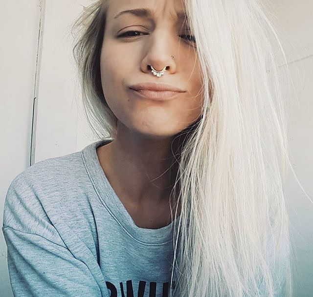 Whether you have your septum pierced or not, BB has several clicker styles to choose from in the shop for just $19.99CAD. Tory is wearing the Crown clicker pictured. To purchase, click here: https://bonnies-bullet.myshopify.com/products/septum-clickers