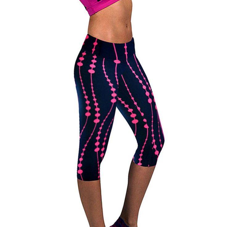 女性の3d印刷プラスサイズカプリパンツレギンススポーツフィットネスパンツ屋外トレーニング体操着