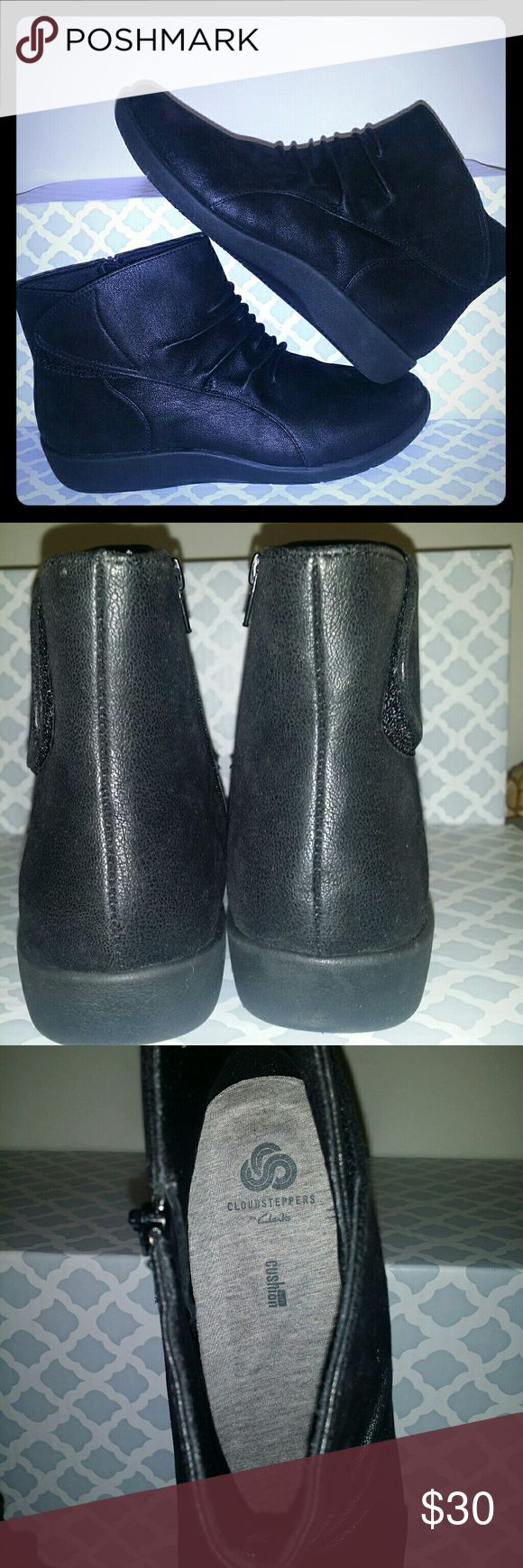 Clarks Shoes Booties Cloud steppers Black Clarks Cloud Steppers Lightweight Ruched Ankle Boots.   Color - Black.  Size - Womens 11 Medium.   Style Name - Sillian Sway.  Item retails for $88.00.   Condition   Great - This item comes from a liquidation sale of the Q home shopping network. It has been inspected and appears to be a customer return showing very slight wear.   Description   Feel light on your feet in these Clarks Cloud Steppers ankle boots. Slip into lightweight booties that keep…