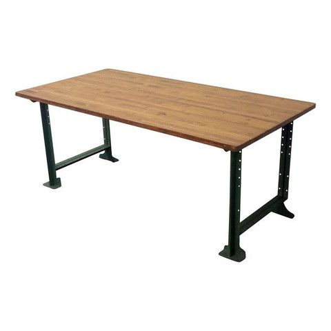 vintage industrial butcher block dining table