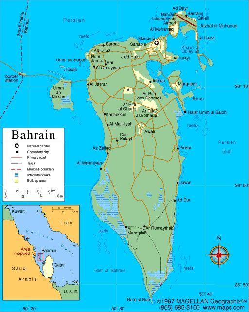 Map of Bahrain Capital: Al-Manamah. Languages: Arabic, English, Farsi, Urdu Ethnicity/race: Bahraini 62.4%, non-Bahraini 37.6% (2001)