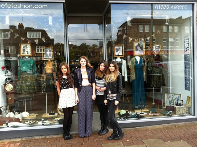 The winning window design team from Brooklands College at Esher Fashion Week ..
