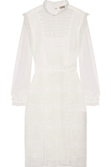 Burberry - Tulle And Cotton-blend Lace Dress - White - UK14
