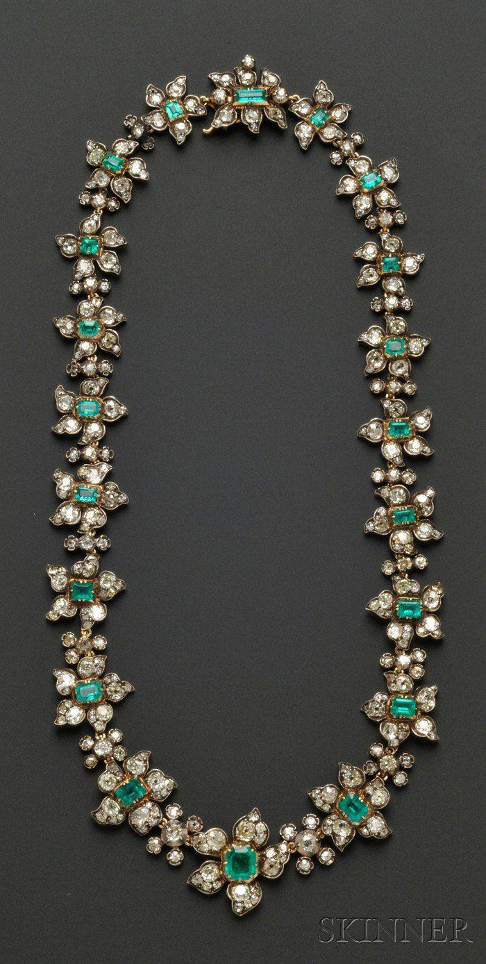 2523cbba3a Antique Emerald and Diamond Necklace, France | My Secret Garden ...