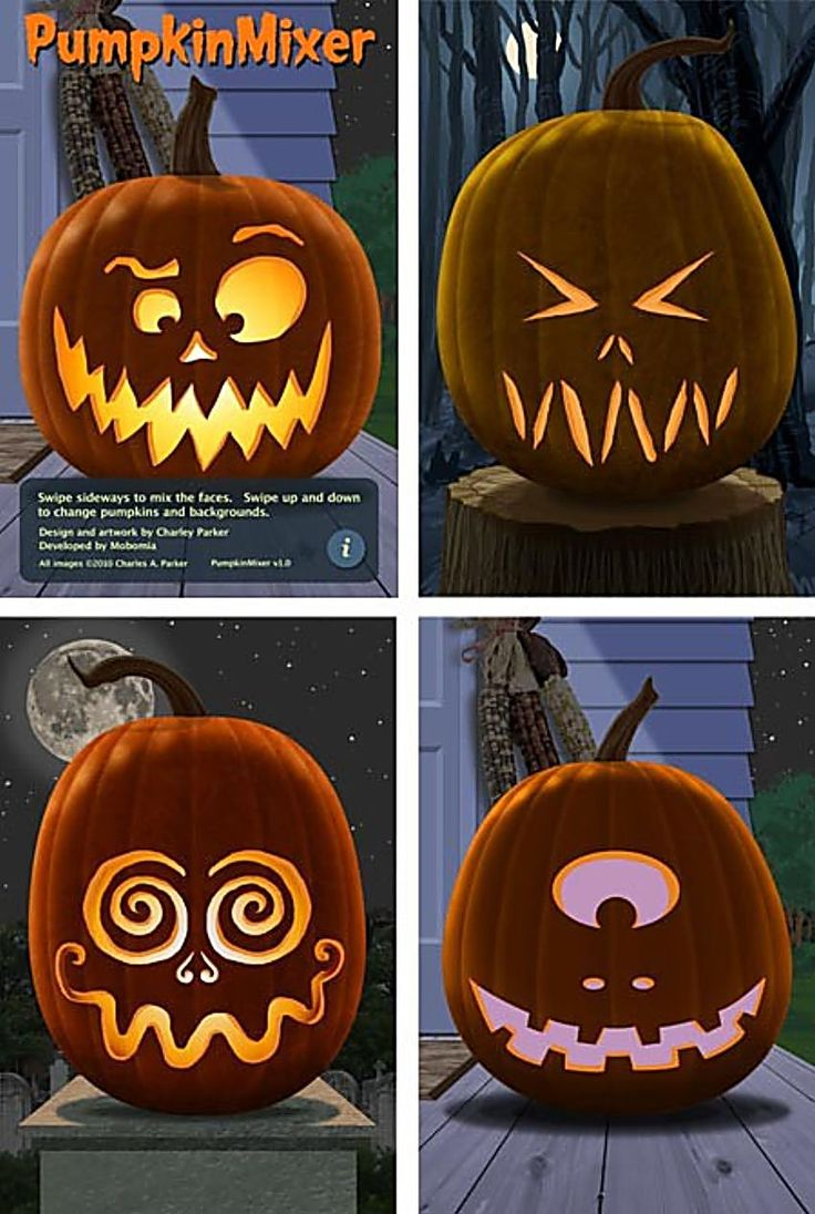 PHOTOS For IDEAS ONLY ....FOUR Easy Ideas for Pumpkin Faces.