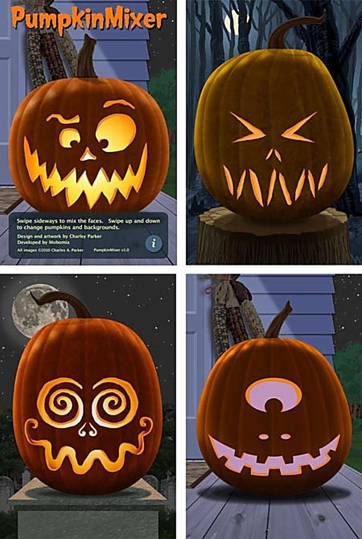 PHOTOS For IDEAS ONLY ....FOUR Easy Ideas for Pumpkin Faces.