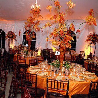 halloween wedding theme idea centerpieces trees with leaves orange yellow fall colors orange and black - Halloween Wedding Decor