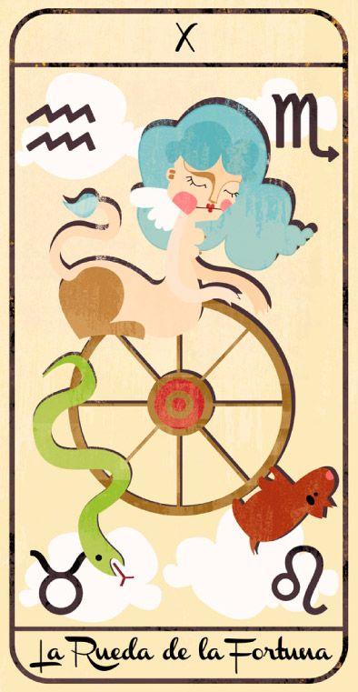 La rueda de la fortuna: naipe de un Tarot infantil para niños pendiente de editar; La maqueta del mismo (un libro tutorial ilustrado cuya contraportada en forma de caja guarda en su interior las cartas) se puede visitar en el Museo del Tarot de Bélgica del coleccionista de Tarot Guido Gillabel. Autora Elena Catalán