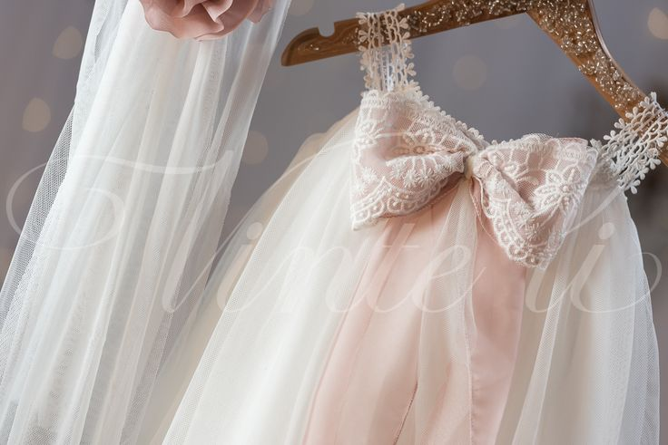 #tulle #dress #bow #pink #christening #lace