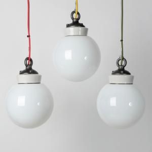 Trainspotters.co.uk - The white glass globe pendant larger, Supplied with braided flex and cast ceiling hook.