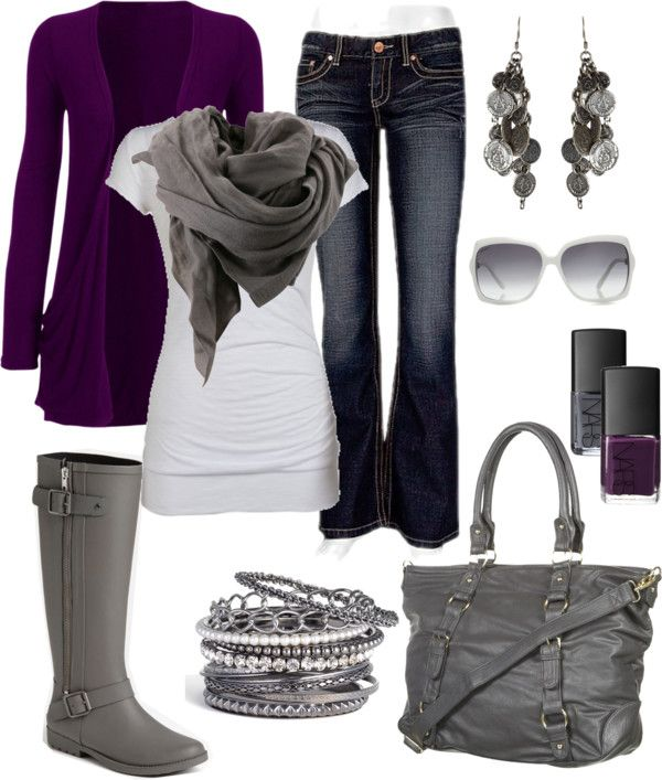 Grey with purple cardigan.  Silver jewelry and purse.  Just purchased a new grey scarf.