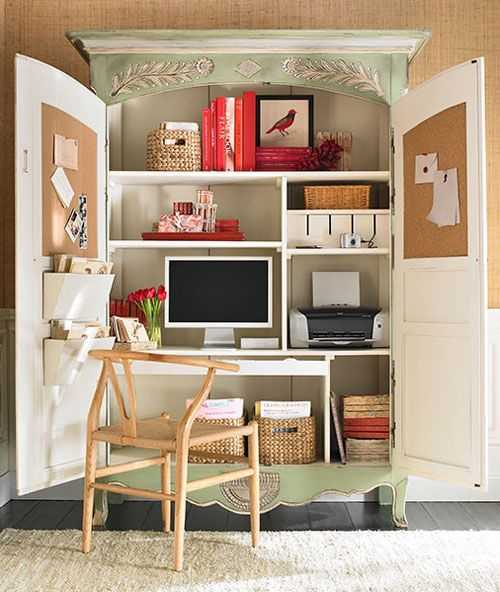 Extraordinary Small Home Office Shelving Ideas: 25+ Great Ideas About Armoire Decorating On Pinterest