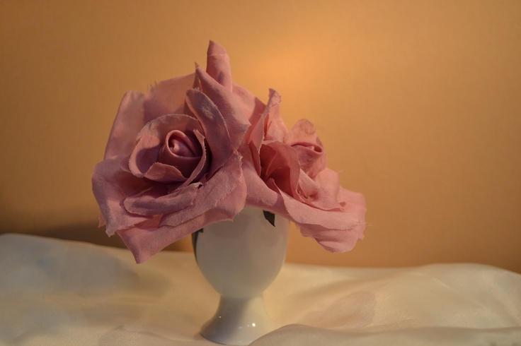 More silk roses - practise makes perfect...  Block dye this time.