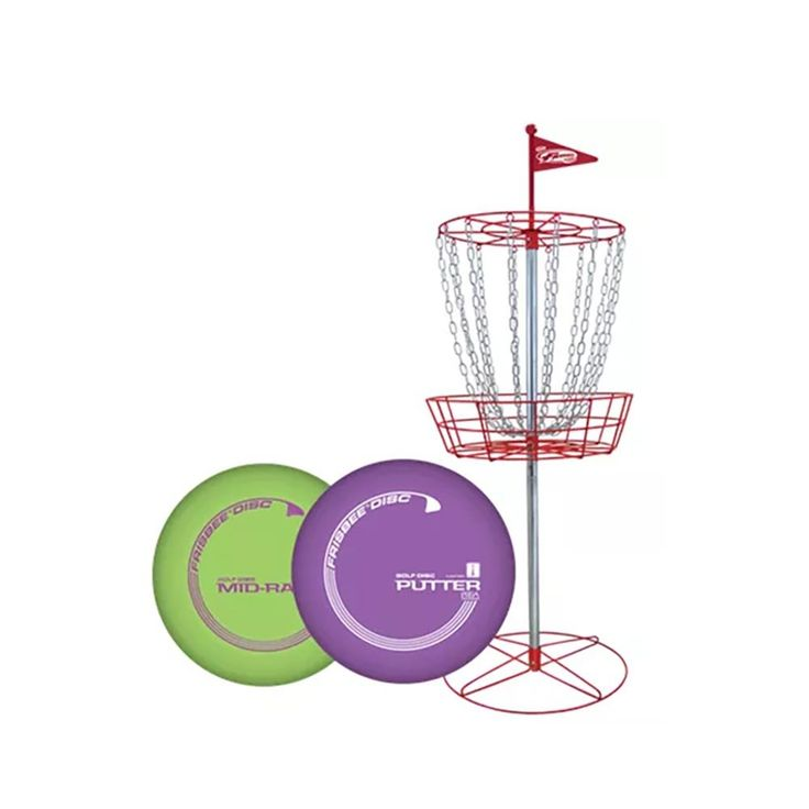 Wham-O Disc Golf Set. The Frisbee Golf Disc Game set is the coolest indoor/outdoor toy for kids and adults, play at home, work or for an event, contest and more. Play a Par 3 round of Disc Golf like the Pros with the entire family or play at work; features 2 mid-range and 4 Putter discs and one Frisbee Golf target. For ages 12 and up but even adults love it; the metal chains are designed to catch the Frisbee Discs so throw your favorite, tossing, hyzers, anhyzers, s-curves, rollers and…