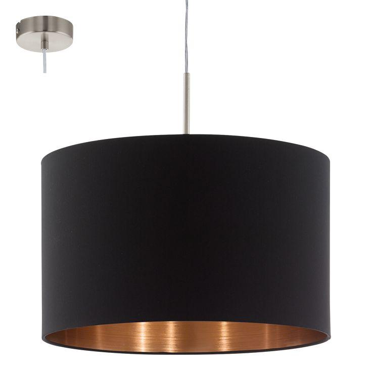 LAMPA wisząca PASTERI 94913 Eglo okrągła OPRAWA abażurowa zwis czarny miedź