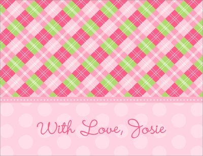 Pink Argyle Foldover Note Cards