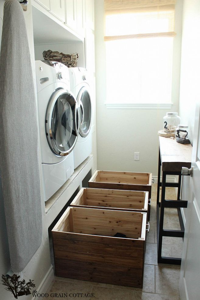 DIY Laundry crates (~with wheels so they glide out; could be opened in the front like I'm imagining to toss in articles easily, and all done with the minimum of elevation.)