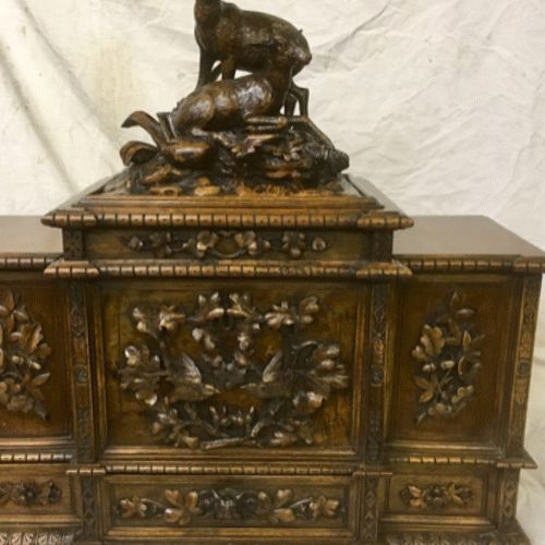 Antique walnut German humidor box , contain enough for 128 cigars