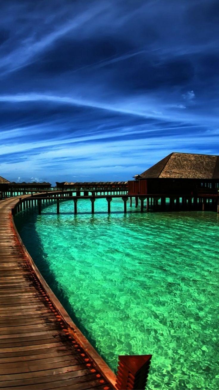 Nature Heaven Maldives Crystal Clear Sea Skyscape #iPhone #7 #wallpaper
