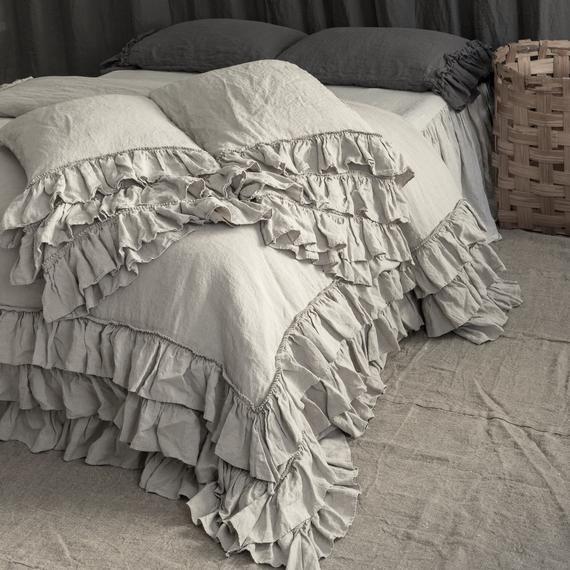 Linen Duvet Cover Set French Style Thick Ruffled Stonewashed Etsy Linen Duvet Ruffle Duvet Cover Linen Duvet Covers