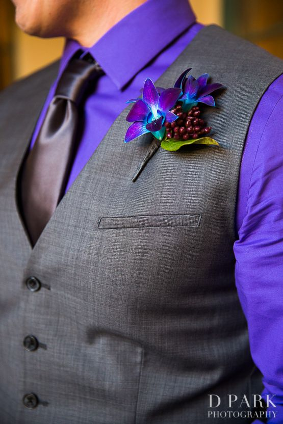 Going to have to be a black shirt with a bright green tie, so sayeth Brian..  purple blue mens wedding attire boutonniere.