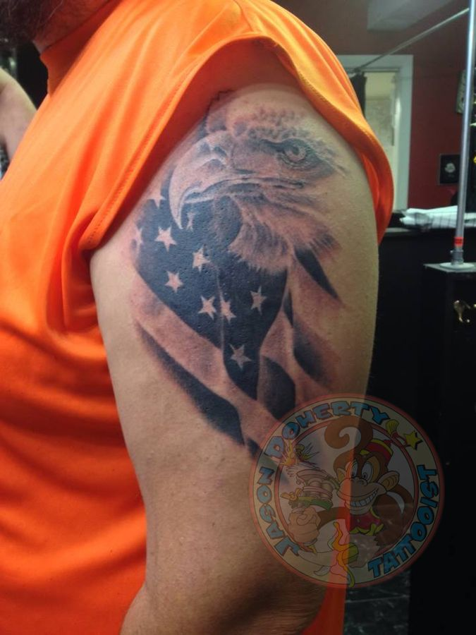 #Eagle and #American #Flag #Tattoo My name is #jason #doherty  I am a  #Professional #tattoo #artist #tattooist or #tattooer making #amazing #tattoos in #beautiful #Northwest near #Portland #Oregon #USA Whether it be #neotraditional #traditional #tribal #biomechanical #blackandgray #Japanese #Photorealistic or just a simple #kanji tattoo I try to do my best with EACH tattoo I do regardless of the size or cost.