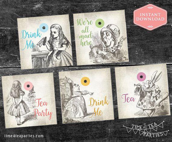 Alice in Wonderland Tea Bag Tags. Download by Time4TeaParties